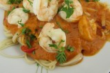 Pâtes sauce rosée et crevettes à l'espagnol